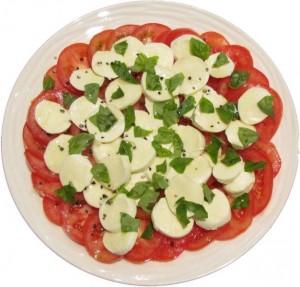 Photograph of Tomato basil and bocconcini salad
